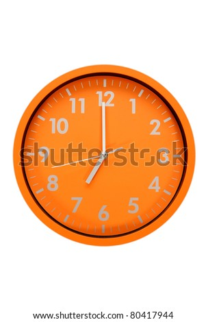 beautiful clock on the wall, 7am, 7pm - stock photo