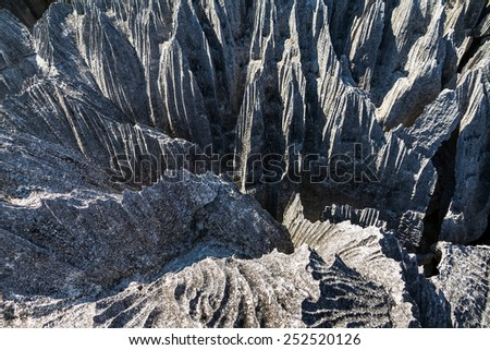 Beautiful close up of the unique geography at the Tsingy de Bemaraha Strict Nature Reserve in Madagascar - stock photo