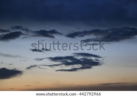 beautiful cloud with blue sky background in evening.