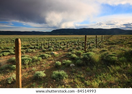 Beautiful clouded sky in the prairie - stock photo