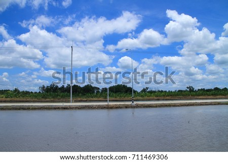 beautiful clouds and sky blue on lake