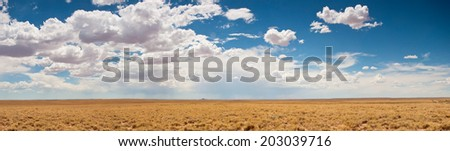 Beautiful clouds over dry cattle land in Arizona. - stock photo