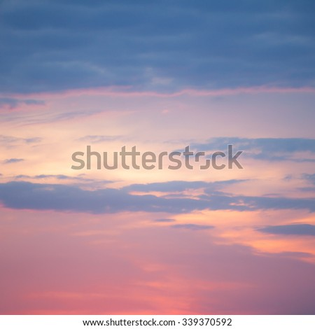Beautiful cloudscape background with purple and pink as main colors. Square image. - stock photo
