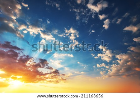 Beautiful cloudscape, sunrise shot - stock photo