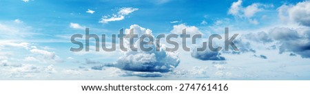 Beautiful cloudy sky. Panorama shot - stock photo