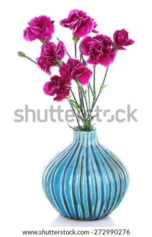 Beautiful cloves in vase isolated on white - stock photo