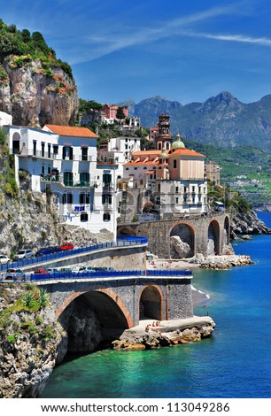 beautiful coast - Amalfi, view of Atrani village - stock photo