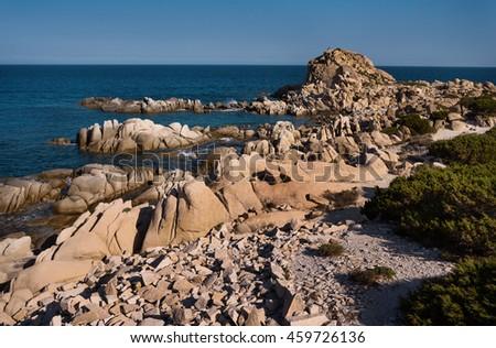 Beautiful coast of Punta Molentis, Villasimius, in Sardinia, Italy - stock photo