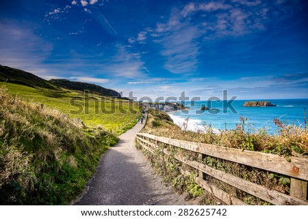 Beautiful coastal landscape in Northern Ireland - stock photo