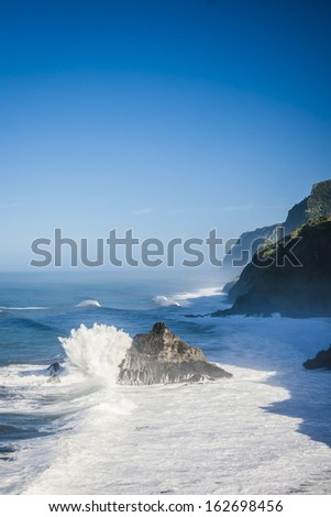 beautiful Coastline of Madeira with amazing waves