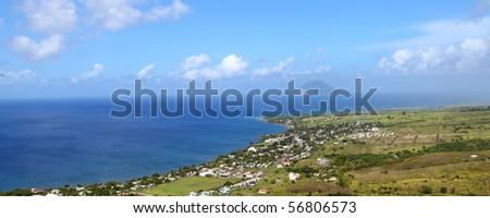 Beautiful coastline of St Kitts from Brimstone Hill - stock photo