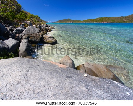 Beautiful coastline scenery of the British Virgin Islands - stock photo