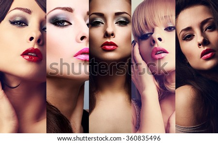 Beautiful collage of sexy bright makeup emotional women with hot lips. Closeup beauty faces - stock photo