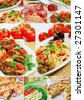 Beautiful collage pastries and pizza  made from eight photographs - stock photo
