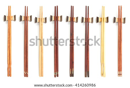 beautiful collection wooden chopsticks isolated on white background - stock photo