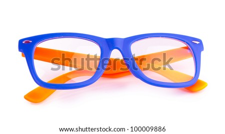 Beautiful color glasses isolated on white - stock photo