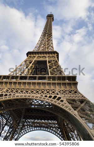 Beautiful Color Image of the Eiffel Tower with Cloudy Blue Sky. - stock photo