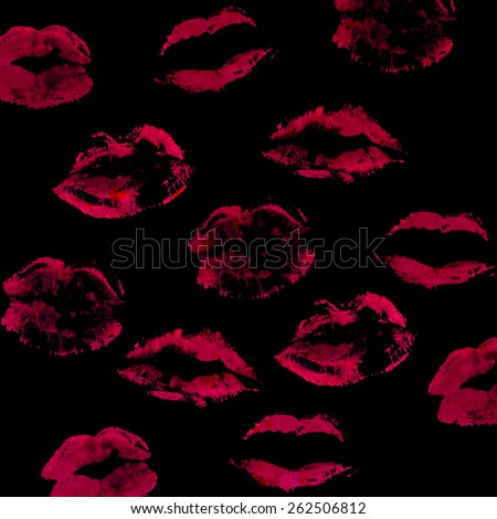 beautiful color lips on grunge background - stock photo