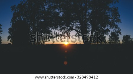 Beautiful colored susnet landscape with trees in summer time - stock photo