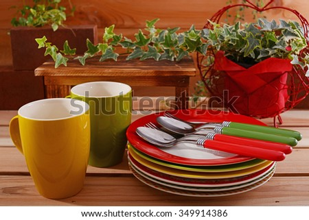 Beautiful colored Tableware on the dining table
