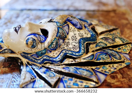 beautiful colorful artistic handmade venetian carnival mask - stock photo