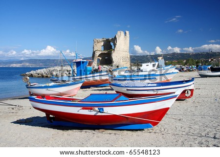 Beautiful colorful boats in harbor, Briatico, Calabria, Italy - stock photo