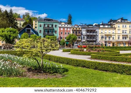 Beautiful Colorful Buildings And Park - Gmunden, Upper Austria, Austria, Europe - stock photo