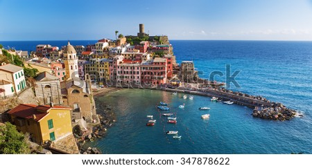 Beautiful colorful cityscape on the mountains over Mediterranean sea, Europe, Cinque Terre, traditional Italian architecture,Italy - stock photo