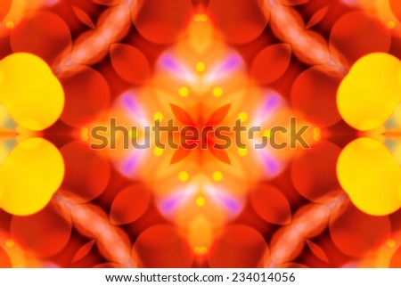 Beautiful colorful defocused bokeh festive lights in kaleidoscope as abstract holiday celebration background - stock photo