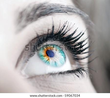 Beautiful colorful eye close-up - stock photo