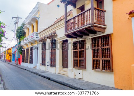 Beautiful colorful facades of colonial houses in Cartagena de Indias, Colombia - stock photo