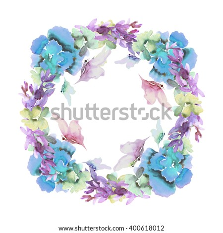 Beautiful colorful  floral frame. Summer flowers with butterflies.Watercolor. - stock photo