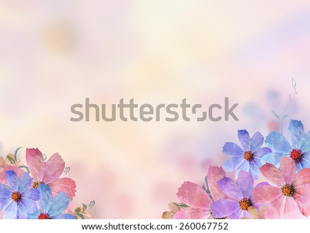 beautiful colorful flowers over blur background. Pastel, sweet, romantic, valentine, birthday, invitation, wedding, natural, soft, spring concept background - stock photo