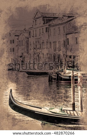 Beautiful colorful image of a canal in Venice. Vintage painting, background illustration, beautiful picture, travel texture
