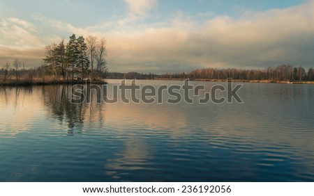 Beautiful colorful lake in Sweden in the town of Katrineholm - stock photo