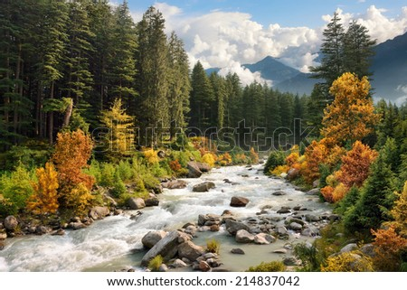 Beautiful colorful landscape with a stream and forest in autumn colors, mountains in the background and blue sky with white clouds - stock photo