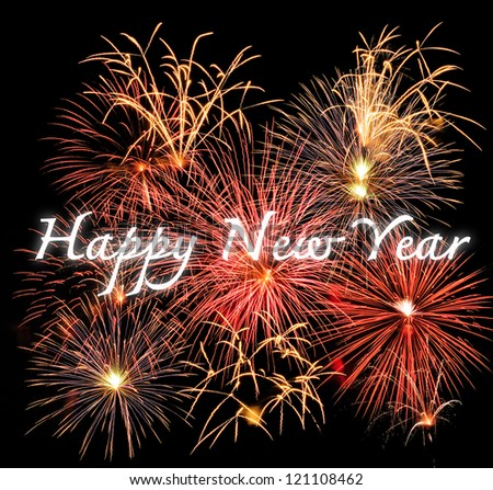 Beautiful colorful 2013 new year fireworks on the black sky - stock photo