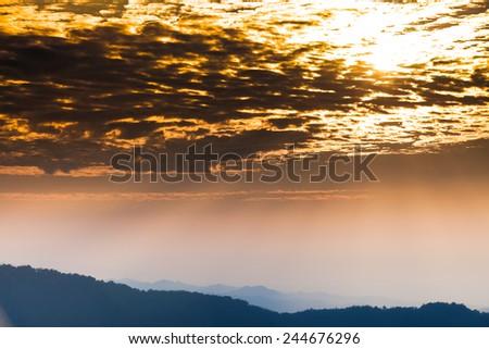 Beautiful colorful sky of sunset. Sky background. - stock photo
