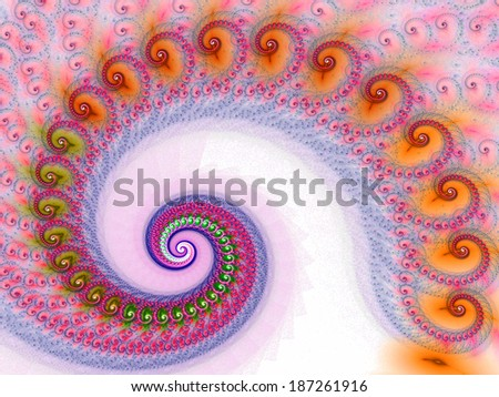 Beautiful colorful spiral. Digitally generated fractal pattern.