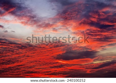 Beautiful colorful sunset sky. Sky background with red colours - stock photo