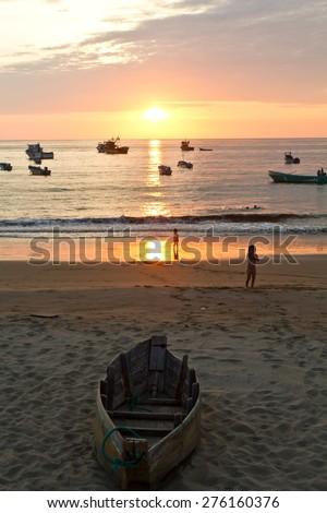 Beautiful colorful sunset view in fisherman village, Manabi, Ecuador - stock photo