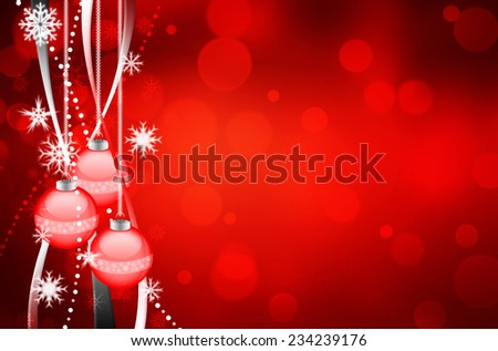 Beautiful colorful xmas background with ornamente and snow - stock photo