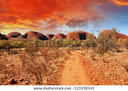 Beautiful colors and landscape of Australian Outback. - stock photo