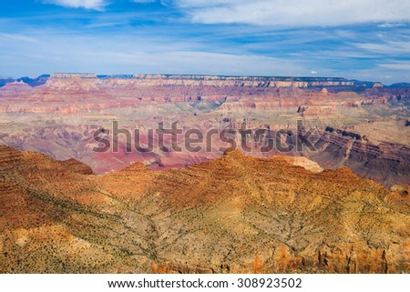 Beautiful colors and shapes of the Grand Canyon shortly after the sunrise at Desert Point. Arizona, USA
