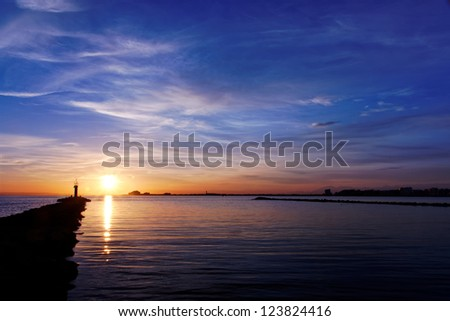 Beautiful colors of a sunset  at Las Rosas in Spain - stock photo