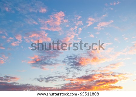beautiful colors on cloudscape at sunrise