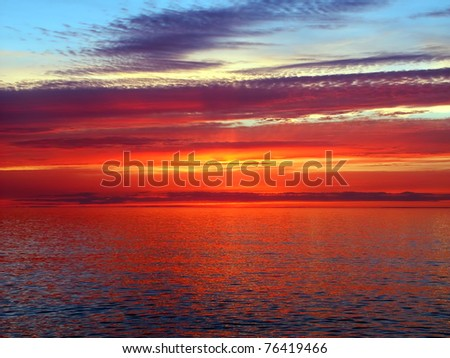 Beautiful colors reflect off Lake Superior in northern Michigan - stock photo