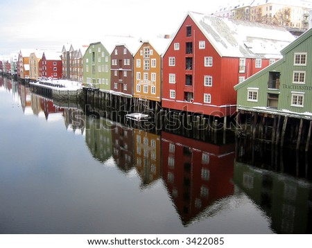 Beautiful colourful houses by the river, Trondheim, Norway - stock photo