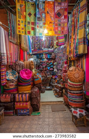 Beautiful Colours In The Marrakech Souk - stock photo