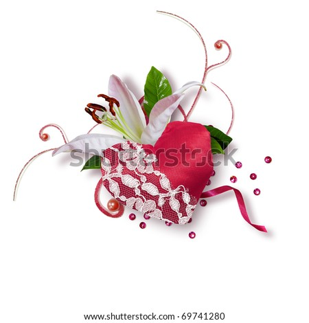 beautiful composition with a lily and the heart - stock photo